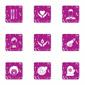 Romantic sense icons set. Grunge set of 9 romantic sense icons for web isolated on white background poster