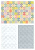 Jigsaw puzzle blank templates (around 100 pieces) and corresponding pastel colors pattern all pieces separattable poster