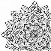 Coloring book pages. Mandala. Indian antistress medallion. Abstract islamic flower, arabic henna design, yoga symbol. White background, black outline. Vector illustration poster