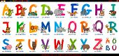 Cartoon Illustration of Educational Colorful German or Deutsch Alphabet Set with Funny Animals poster