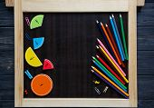 colorful math fractions on blackboard. interesting math for kids. Education, back to school concept. Geometry and mathematics materials. poster