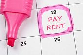Calendar mark  with Pay rent poster