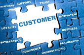 Customer blue puzzle pieces assembled poster