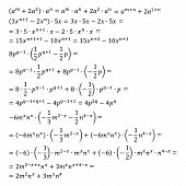 Example of the algebraic problem of opening brackets multiplication of polynomials and monomials multiplication of degrees vector illustration simple fractions mixed fractions poster