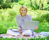 Guide starting freelance career. Pleasant occupation. Business lady freelance work outdoors. Become successful freelancer. Woman with laptop sit on rug grass meadow. Online freelance career concept poster