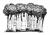 Black brush and ink artistic rough hand drawing of smoke coming from industry or factory smokestacks or chimneys into air. Environmental concept of air pollution. poster