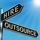 Hire Or Outsource Directions On A Metal Signpost poster