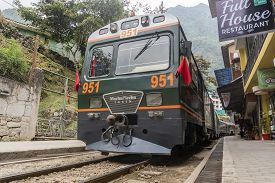Aguas Calientes, Peru - Sep 13, 2018: Peru Rail Train Arriving At Machu Picchu Station In Aguas Cali