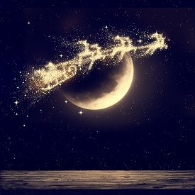 Illustration Of Santa Flying On Night Sky Over Moon Light. Merry Christmas And Happy Holiday. Elemen