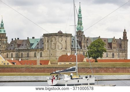 Kronborg Helsingor Elsinor Castle Fortification And Sailboat. Denmark