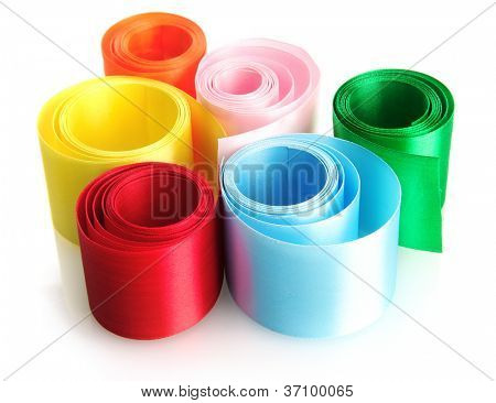 bright silk ribbons, isolated on white