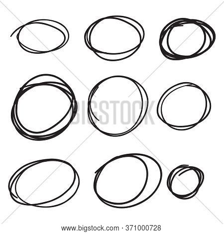 Set Hand Drawn Ovals, Felt-tip Pen Circles. Vector Collection Of Scribble Black Frames.