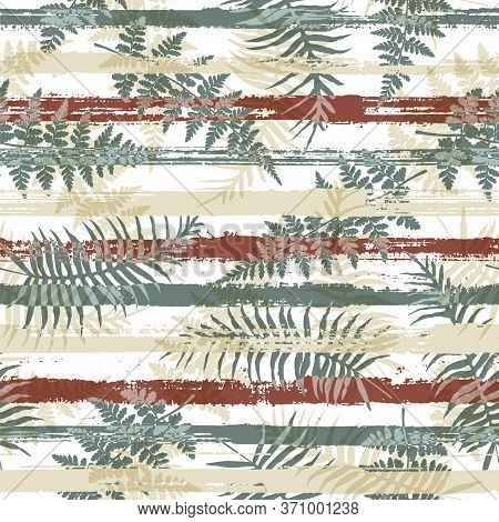 Exotic New Zealand Fern Frond And Bracken Grass Overlaying Stripes Vector Seamless Pattern. Polynesi