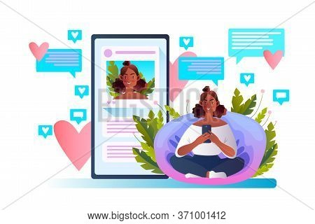 Blogging Concept With Cute Female Influencer Using Smartphone. Vector Illustration With Young Blogge