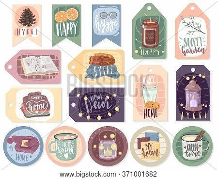 Hygge Cozy Cards. A Set Of Cards And Stickers On The Theme Of Home Comfort. Cozy Items And Hygge Let