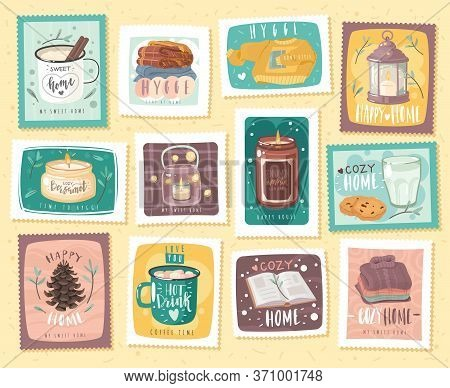 Hygge Cozy Stamps Set. A Set Of Post Stamps And Stickers On The Theme Of Home Comfort. Cozy Items An
