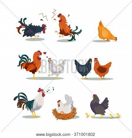 Various Hens And Roosters Flat Icon Set. Cartoon Christmas Or Easter Chicken Characters In Different