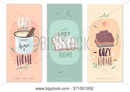 Hygge Cozy Vertical Banners. A Set Of Three Vertical Banners On The Theme Of Home Comfort. Cozy Item