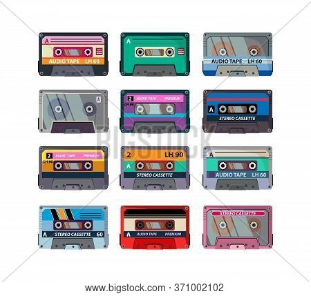 Different Stereo Cassettes Flat Icon Set. Vintage Retro Audio Tapes, Old School Record Technology Is