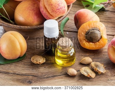 Apricot kernel oil and apricot kernels on wooden background.