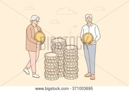 Money, Busines, Insurance, Deposit, Saving Concept. Deposit Accumulation Contribution To Senior Citi