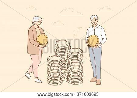 Money, Busines, Insurance, Deposit, Saving Concept. Deposit Accumulation Contribution To Senior Citi