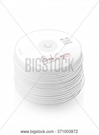 Pirate Copies, Bootlegs, Illegal Copy, Labelled Cds, Compact Disc Tower, Many Dvds - Isolated Vector