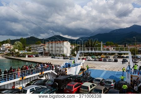 Thassos, Greece - April 18, 2014: A Ferry Crossing From Mainland To The Island Of Thassos In Greece.