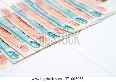 Copy Space With Russian Money Banknotes Rows Of Five Thousand And One Thousand Rubles On White Backr