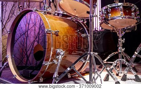 Drum Kit, Drums In The Studio On A Beautiful Background.