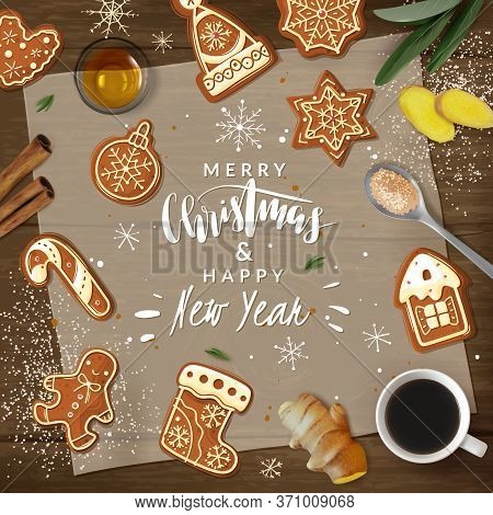 Christmas Gingerbread Cooking Frame Illustration. Christmas Ginger Cookies. Vector Illustration Fram