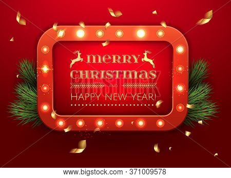 Glowing Christmas Light Banner Sign For Xmas Holiday Greeting Cards Design. Merry Christmas Letterin