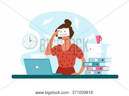 Unhappy Woman At Work, Professional Burnout. Sad Girl Holds A Painted Smile. The Concept Of Depressi