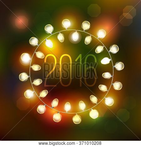 2016 Happy New Year Vector Holiday Illustration Of Luminous Electric Garland On The Christmas Fir Ba
