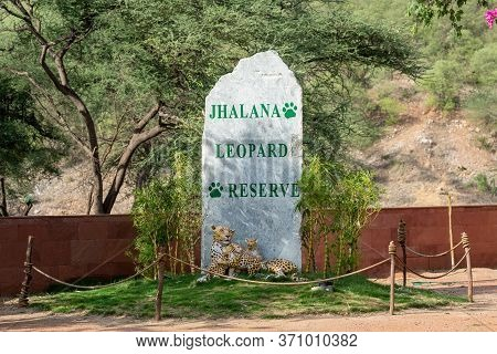 Jaipur , Rajasthan / India - 9 June 2020 : Rock Written With Jhalana Leopard Reserve Also In The Bot