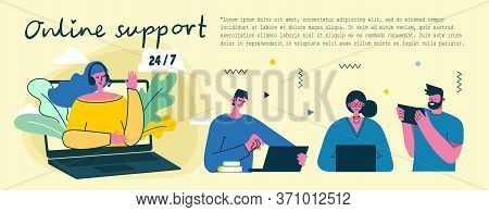 Online Support Help Center Girl Operator. Customer Support Concept. Flat Modern Vector Landing Page.