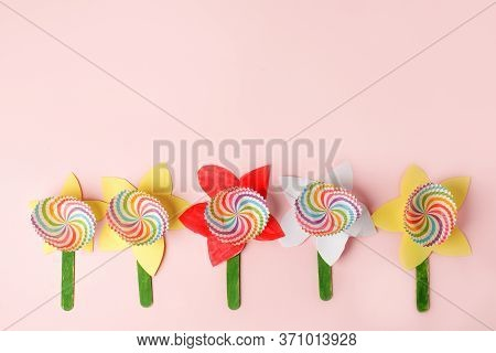 Paper Craft Flower Decoration Concept On Pink Background, Simple Creative Diy Idea For Kids, Daycare