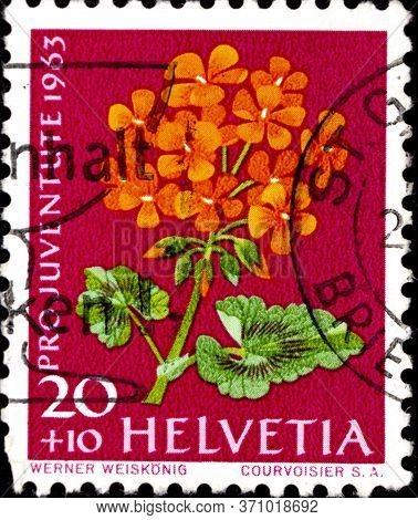 02 08 2020 Divnoe Stavropol Territory Russia Postage Stamp Switzerland 1963 Pro Juventute - Flowers