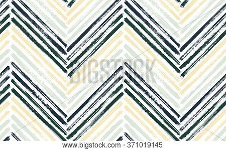 Linear Chevron Fashion Print Vector Seamless Pattern. Ink Brushstrokes Geometric Stripes. Hand Drawn