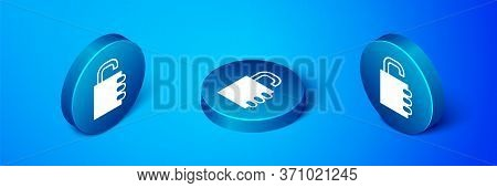 Isometric Safe Combination Lock Icon Isolated On Blue Background. Combination Padlock. Security, Saf