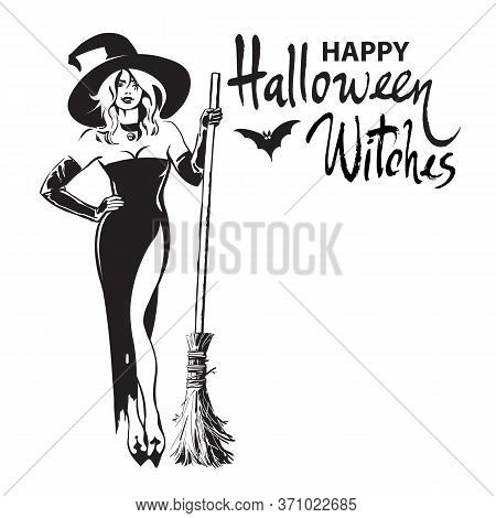 Happy Halloween Witches Hand Drawn Calligraphy, Beautiful Sexy Witch Holding Broomstick Surrounded B