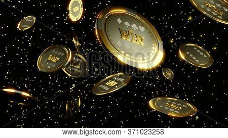 3d Rendering. 3d Illustration. 3d Rendering. 3d Illustration. Luxury Casino Chip Gold And Diamond 3d