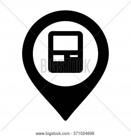 Map Pointer With Atm Cashpoint Icon. Money Withdraw Location Pin.