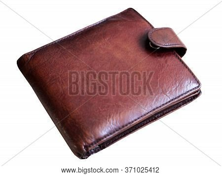 Man's Leather Wallet Isolated On White Background