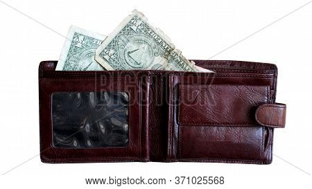 Man's Leather Wallet And Dollars So Close