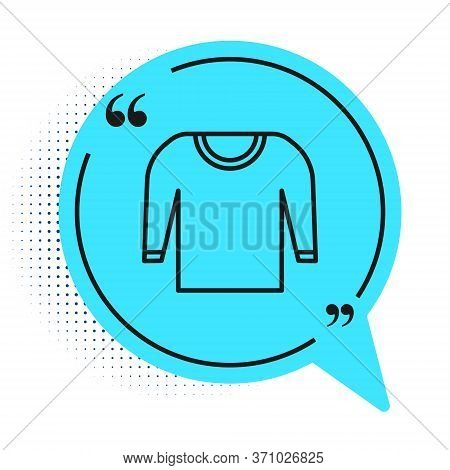 Black Line Sweater Icon Isolated On White Background. Pullover Icon. Blue Speech Bubble Symbol. Vect