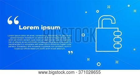 White Line Safe Combination Lock Icon Isolated On Blue Background. Combination Padlock. Security, Sa