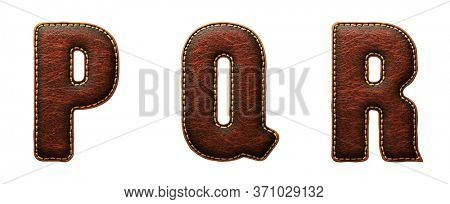 Set of leather letters P, Q, R uppercase. 3D render font with skin texture isolated on white background. 3d rendering