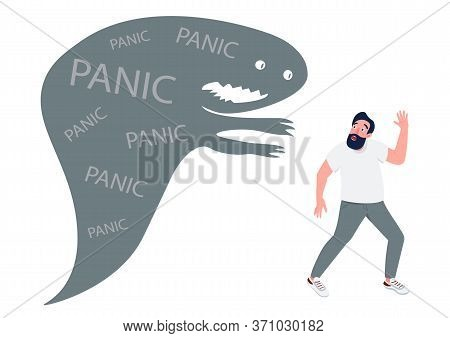 Man With Panic Attack Flat Concept Vector Illustration. Guy Running From Monster In Panic 2d Cartoon