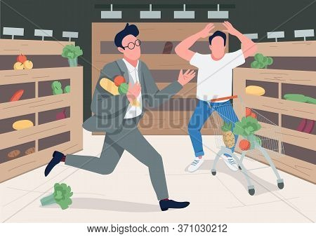 Shoppers In Panic Flat Color Vector Illustration. Panicking Store Customers 2d Cartoon Characters Wi